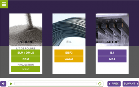 E-Learning fabrication additive